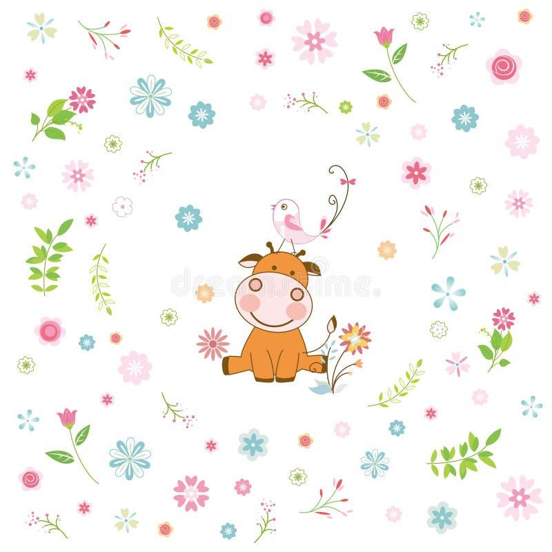 cartolina d'auguri animale del fumetto e del fiore royalty illustrazione gratis