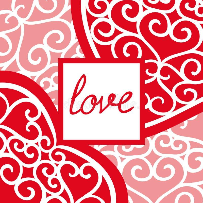 Cartolina d'auguri d'annata di San Valentino con un'iscrizione illustrazione di stock