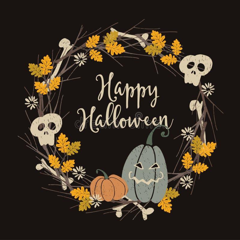 Cartolina d'auguri d'annata disegnata a mano del partito di Halloween, invito con la corona floreale fatta delle zucche della lan royalty illustrazione gratis