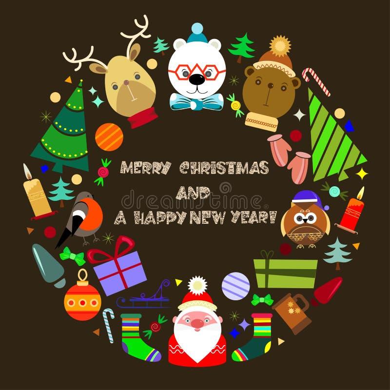 Cartolina d'auguri anno felice di nuovo e di Buon Natale royalty illustrazione gratis