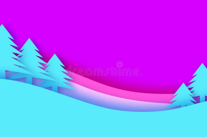Cartolina d'auguri anno felice di nuovo e di Buon Natale Foresta del paesaggio della neve di inverno di origami nello stile tagli illustrazione di stock