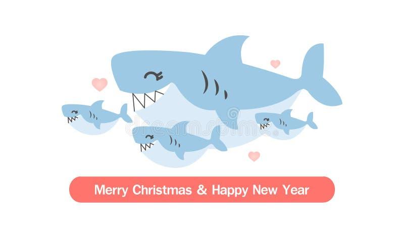 Cartolina d'auguri anno felice di nuovo e di Buon Natale Fumetto sveglio della famiglia dello squalo illustrazione vettoriale