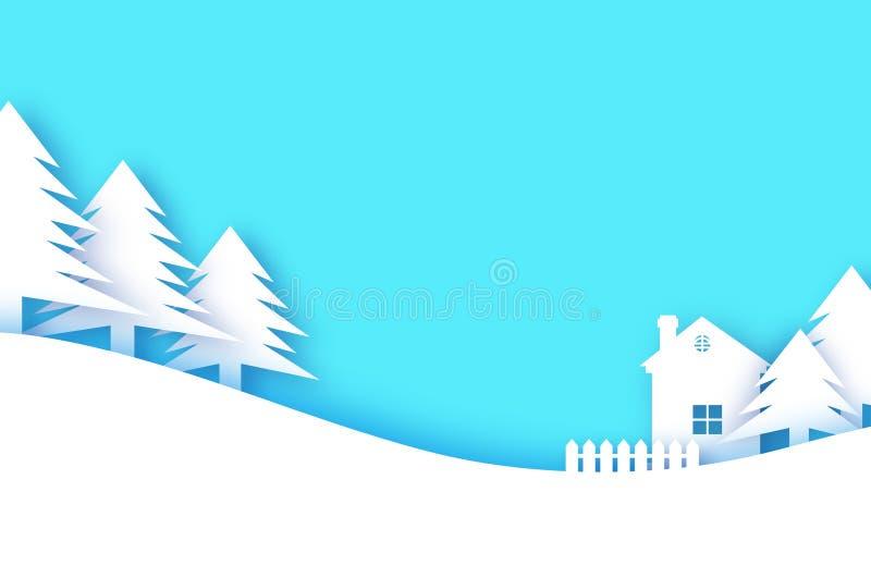Cartolina d'auguri anno felice di nuovo e di Buon Natale Villaggio del paesaggio della neve di inverno di origami con cielo blu C illustrazione vettoriale