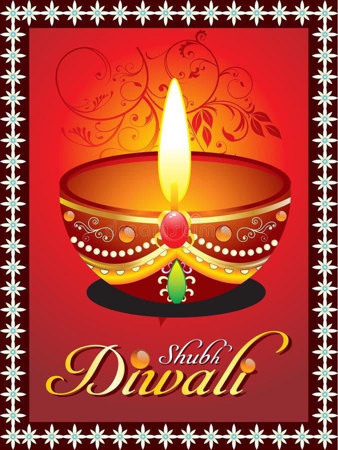 Cartolina d'auguri astratta di diwali con floreale illustrazione vettoriale