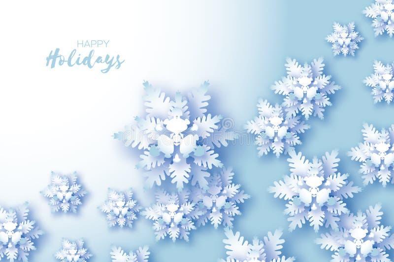Cartolina d'auguri blu di Buon Natale Fiocco della neve del taglio del Libro Bianco Decorazione di nuovo anno felice Priorità bas illustrazione di stock