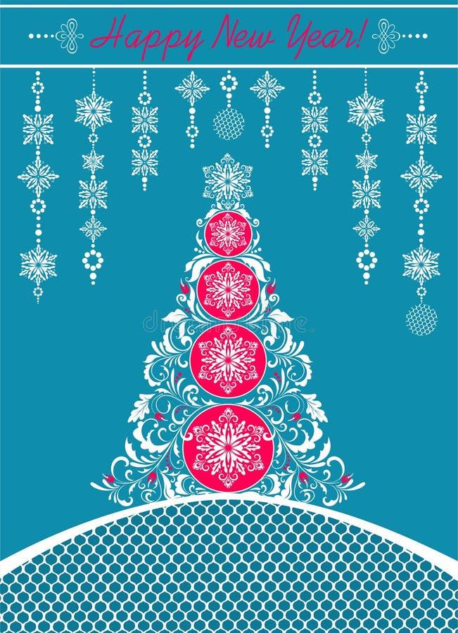 Cartolina d'auguri blu di Natale del mestiere decorato con la decorazione d'attaccatura tagliata del Libro Bianco, l'albero decor illustrazione vettoriale