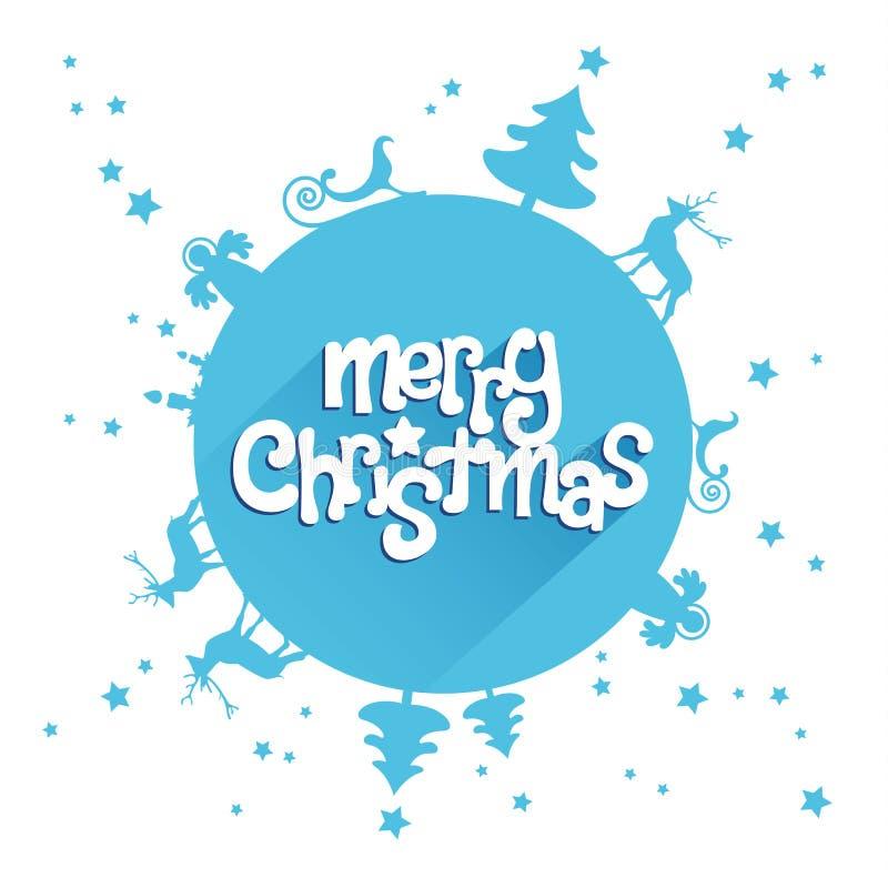 Cartolina d'auguri blu di progettazione di Buon Natale illustrazione di stock