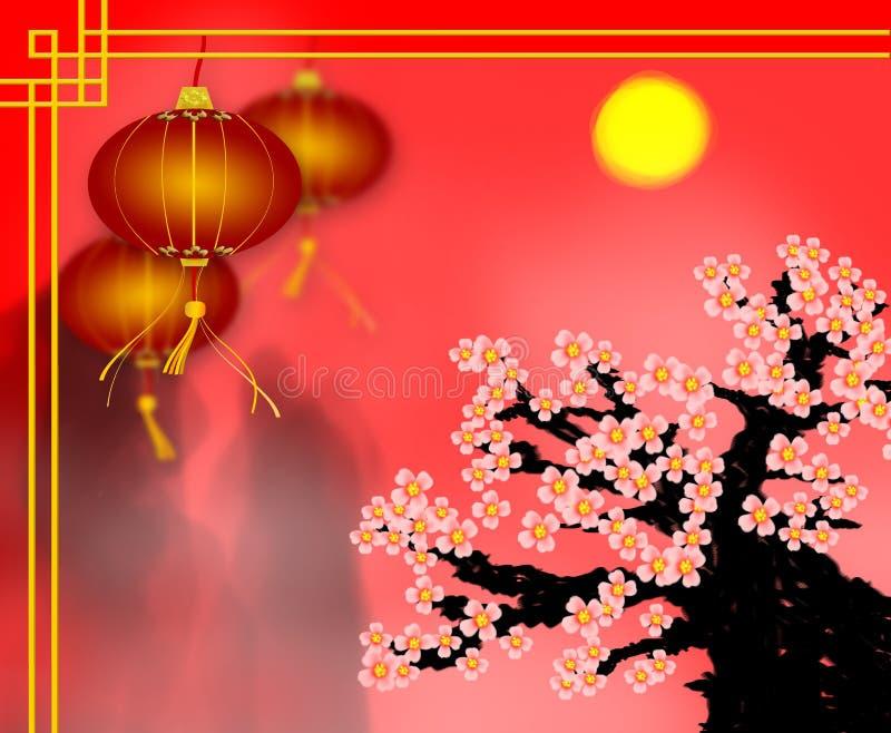 Cartolina d'auguri cinese del nuovo anno della lanterna di carta rossa con la prugna bl immagine stock libera da diritti