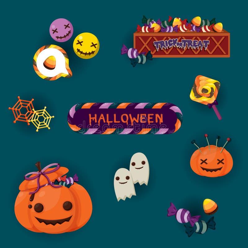 Cartolina d'auguri Colourful di Halloween con la lanterna del ` della presa o e gli elementi svegli di Halloween illustrazione vettoriale