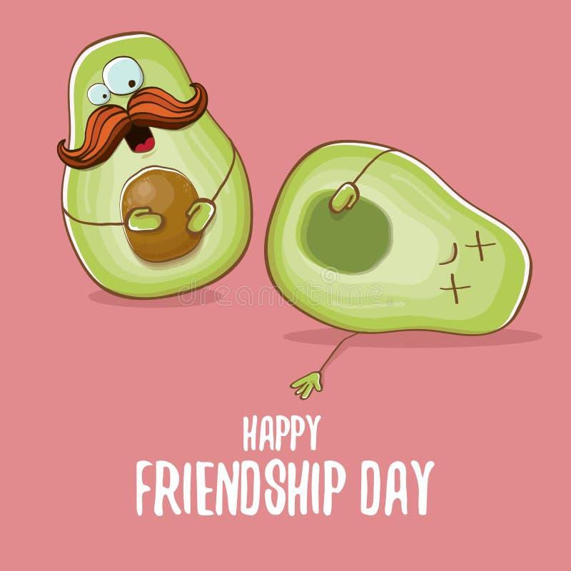Cartolina d'auguri comica di amicizia del fumetto felice di giorno con due amici verdi dell'avocado Saluto funky di concetto di g illustrazione vettoriale