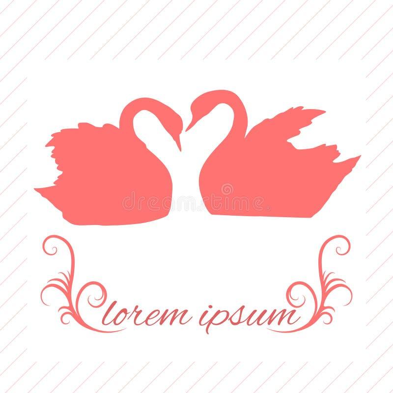 Cartolina d'auguri con i cigni rosa illustrazione di stock