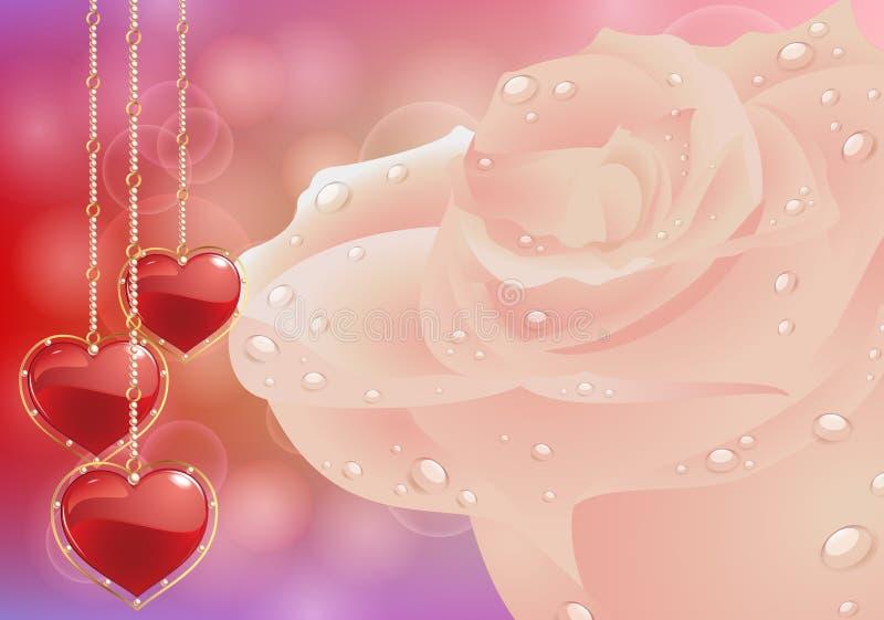 Cartolina d'auguri con i cuori dei fiori Festa della Mamma della carta, San Valentino illustrazione vettoriale