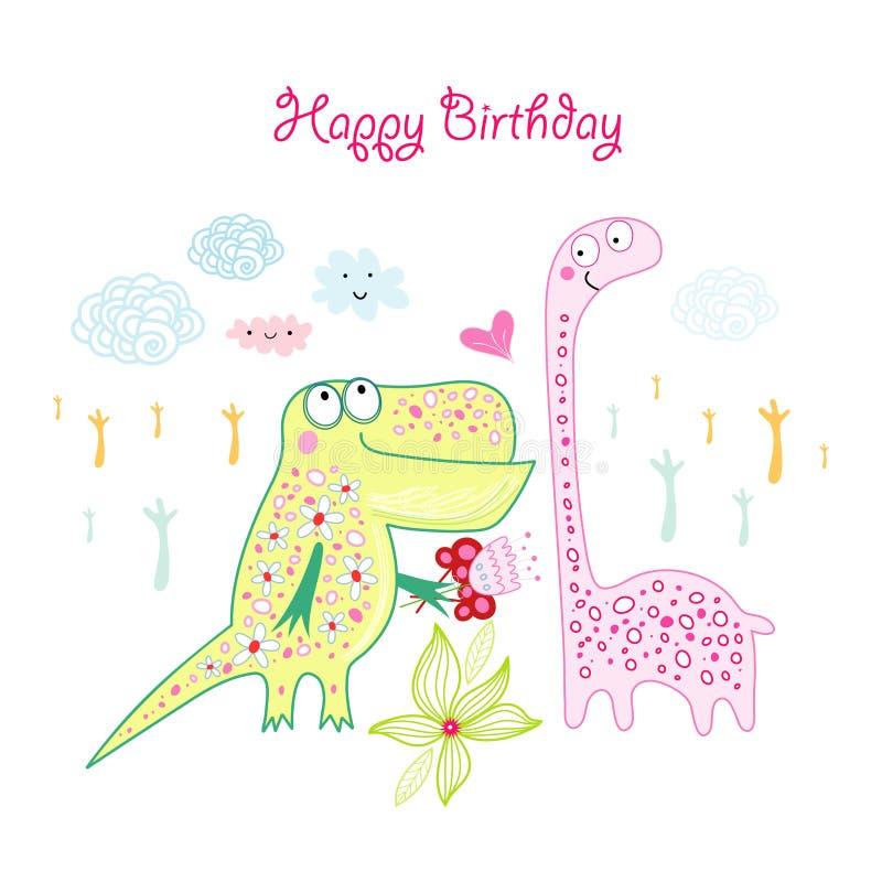 Cartolina d'auguri con i dinosauri illustrazione di stock
