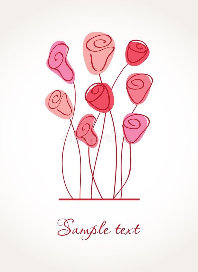 Cartolina d'auguri con i fiori astratti del giglio di calla illustrazione vettoriale