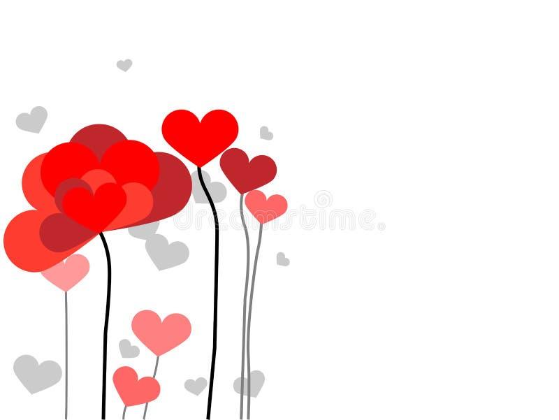 Cartolina d'auguri con i fiori da cuore illustrazione vettoriale
