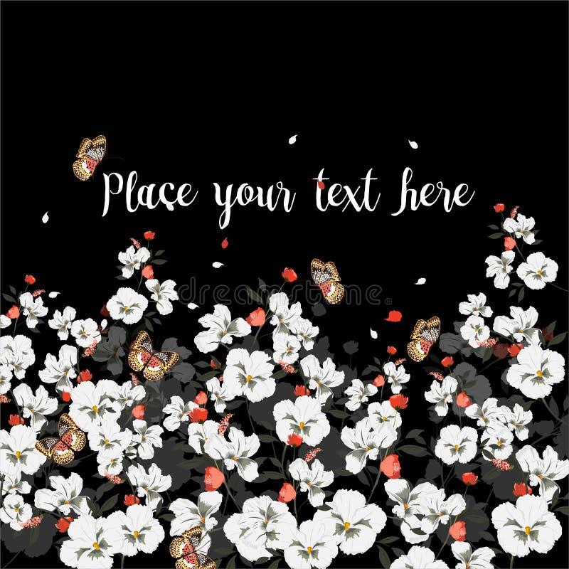 Cartolina d'auguri con i fiori di fioritura con la farfalla Posto per il vostro testo , Wildflowers, illustrazione di vettore illustrazione vettoriale
