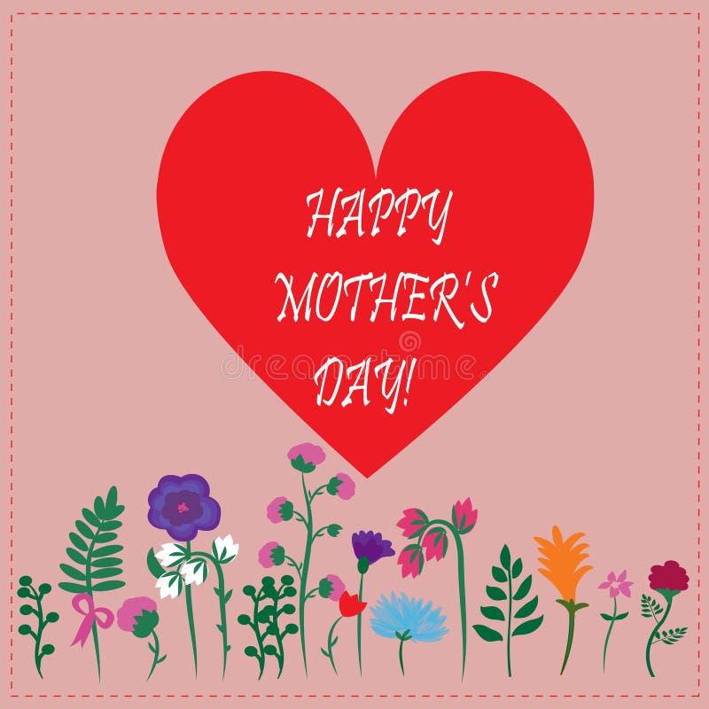 Cartolina d'auguri con i fiori per il giorno di madre illustrazione di stock