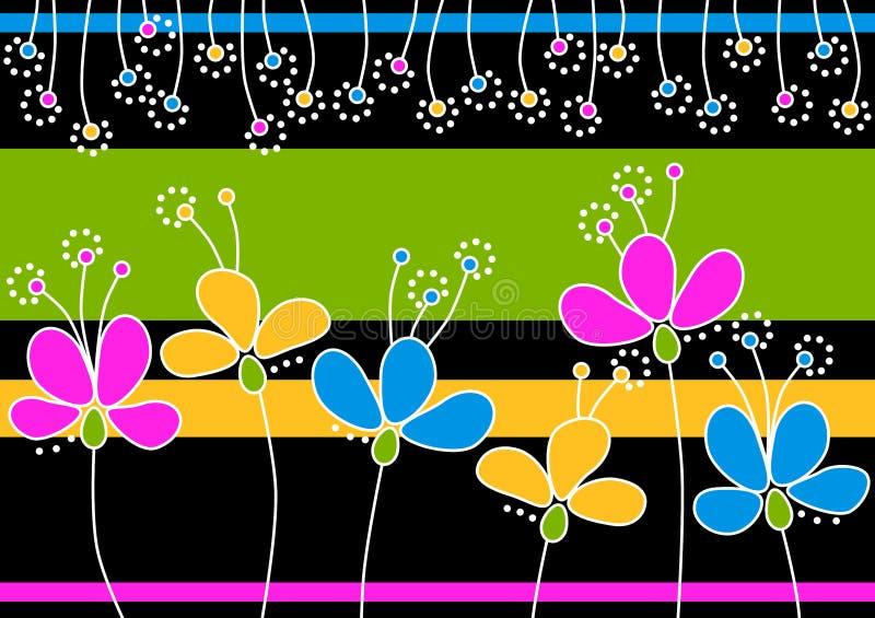 Cartolina d'auguri con i fiori in un giardino illustrazione di stock