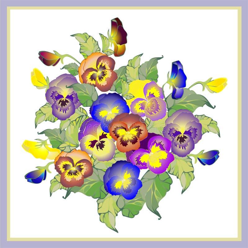 Cartolina d'auguri con i pansies del mazzo. royalty illustrazione gratis