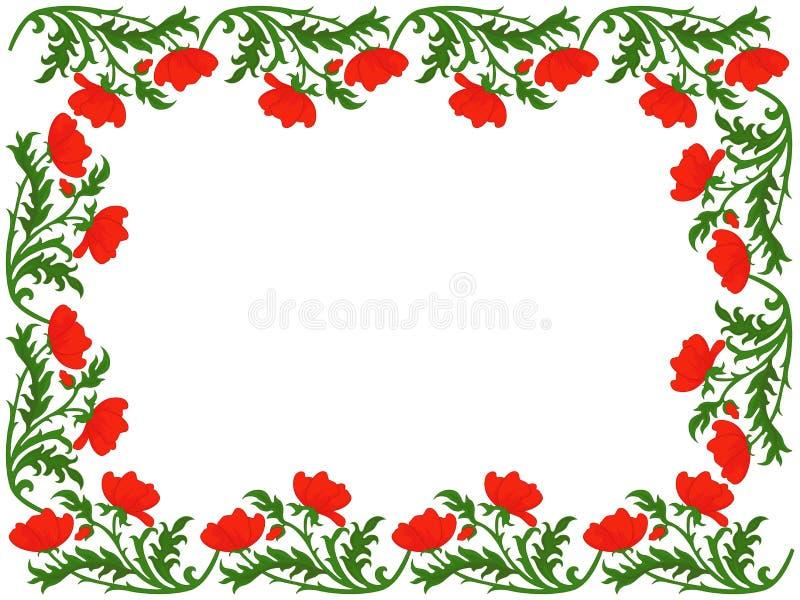 Cartolina d'auguri con i papaveri rossi royalty illustrazione gratis