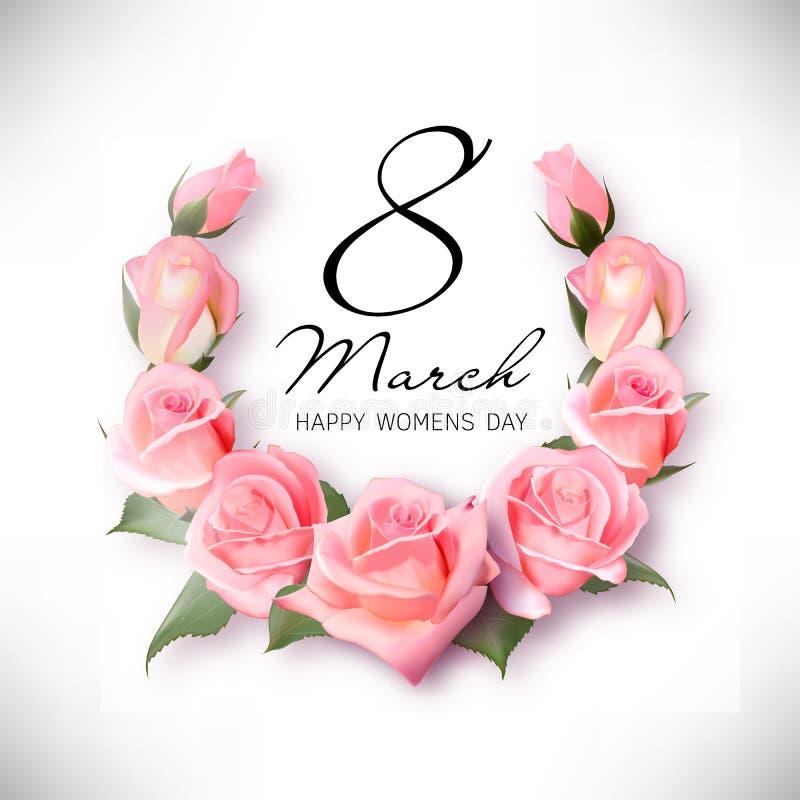 Cartolina d'auguri con i petali rosa ed il nastro rosa 8 marzo - giorno del ` s della donna illustrazione di stock