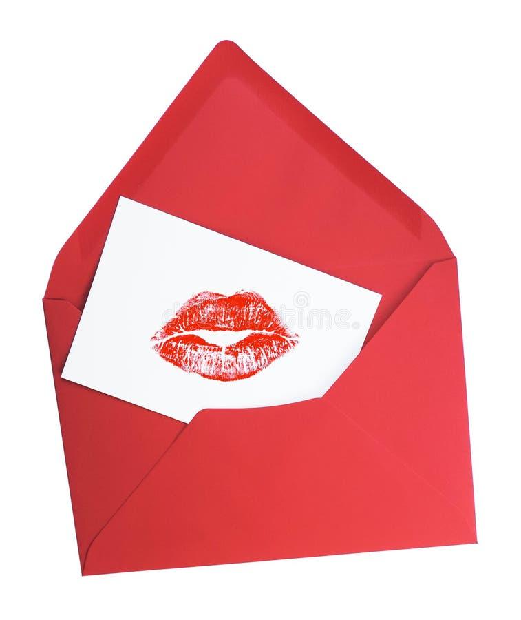 Cartolina d'auguri con il bacio del rossetto immagini stock