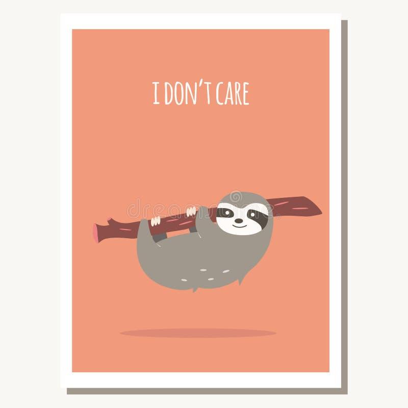 Cartolina d'auguri con il bradipo ed il messaggio di testo pigri svegli illustrazione di stock