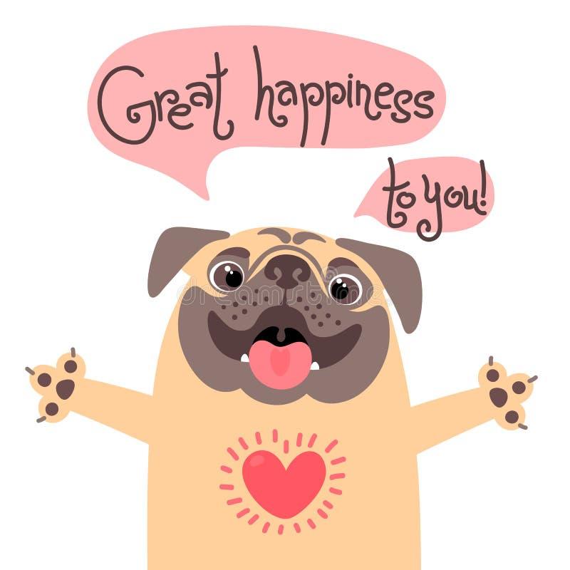Cartolina d'auguri con il cane sveglio Il carlino dolce si congratula e felicità di desiderio la grande a voi illustrazione vettoriale