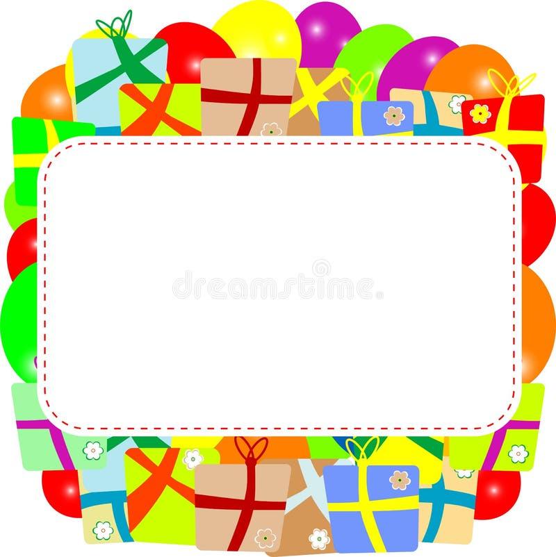 Cartolina d'auguri con il contenitore di regalo e lo spazio della copia. vettore royalty illustrazione gratis