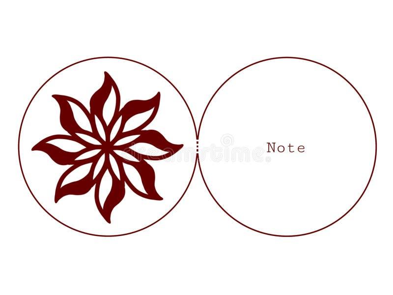 Cartolina d'auguri con il fiore che taglia arte illustrazione vettoriale