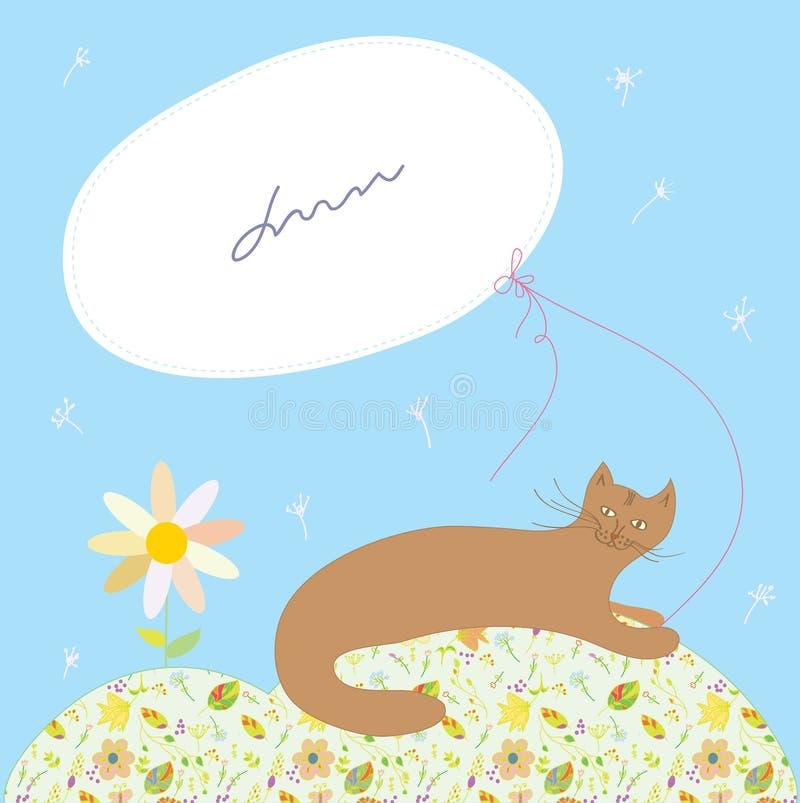 Cartolina d'auguri con il gatto e la struttura illustrazione vettoriale