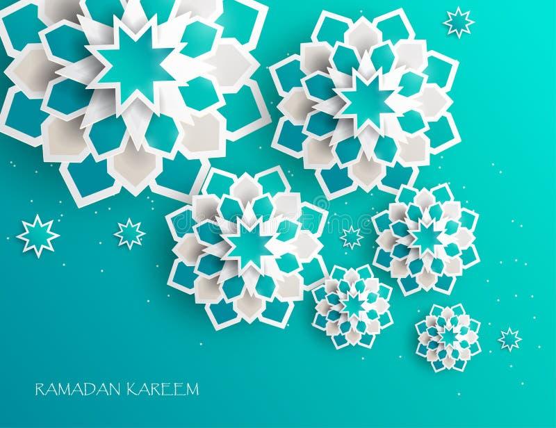 Cartolina d'auguri con il grafico di carta arabo complesso illustrazione di stock