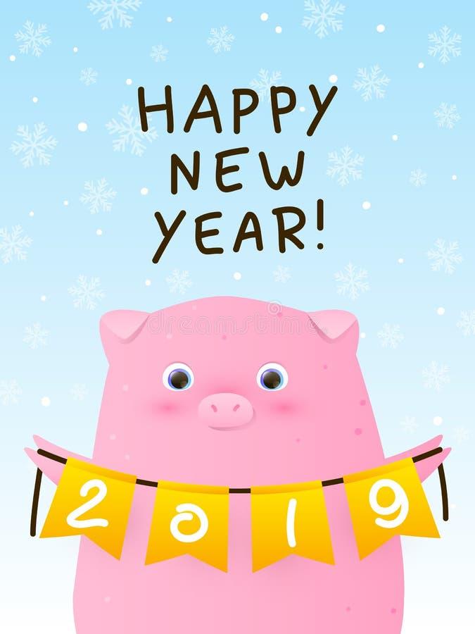 Cartolina d'auguri con il maiale sveglio - un simbolo del nuovo anno illustrazione di stock