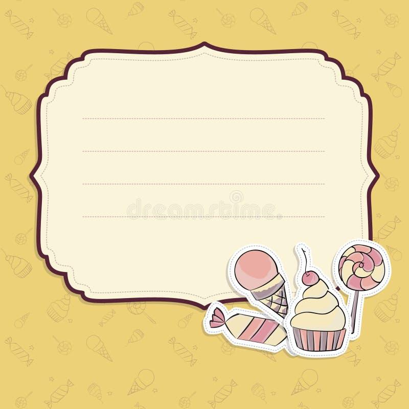 Cartolina d'auguri con il modello delle caramelle del disegno della mano illustrazione vettoriale