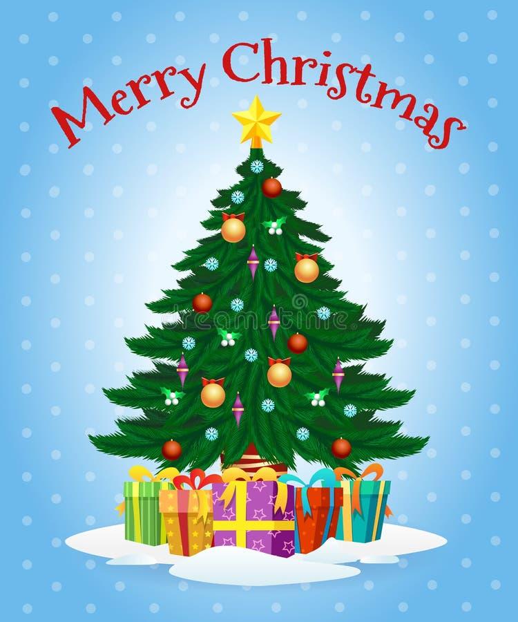 Cartolina d'auguri con l'albero di Natale del fumetto illustrazione vettoriale