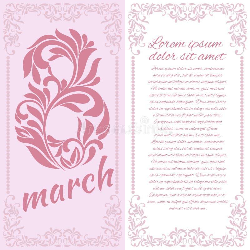 Cartolina d'auguri con l'8 marzo illustrazione di stock