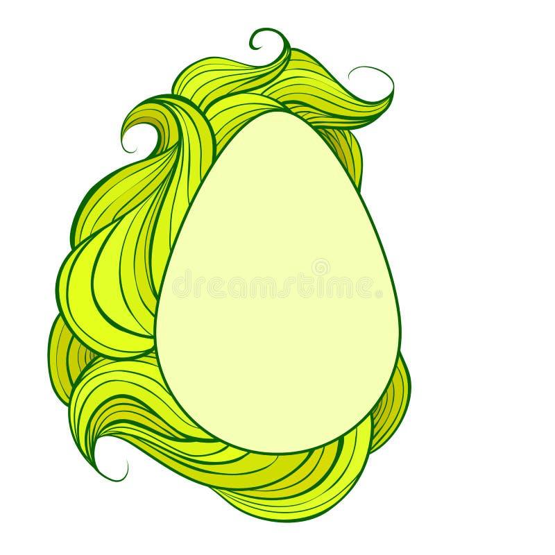 Cartolina d'auguri con l'uovo ed i riccioli pelosi ondulati verdi L'oggetto è separato dai precedenti Scheda di pasqua di vettore royalty illustrazione gratis