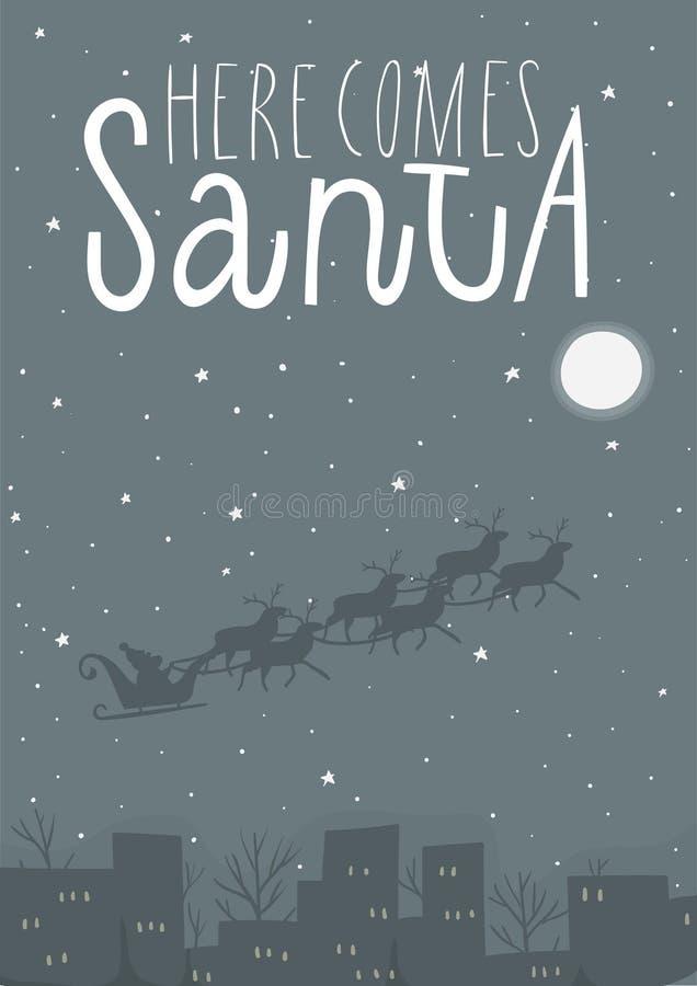 Cartolina d'auguri con la slitta del ` s di Santa illustrazione vettoriale