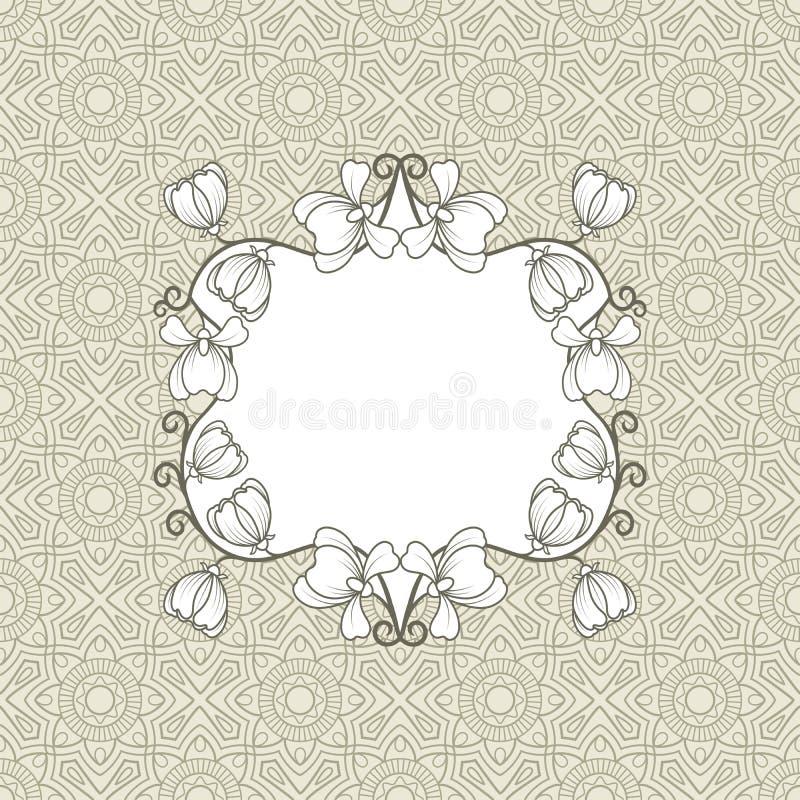 Cartolina d'auguri con la struttura floreale illustrazione di stock