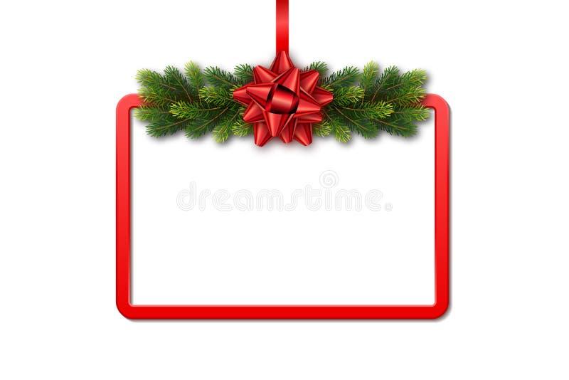 Cartolina d'auguri con la struttura, la ghirlanda dell'abete e l'arco rossi su fondo bianco Modello di festa di Natale con lo spa illustrazione di stock