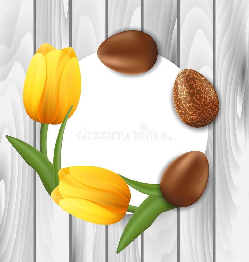 Cartolina d'auguri con le uova di cioccolato di Pasqua ed il fiore giallo dei tulipani royalty illustrazione gratis