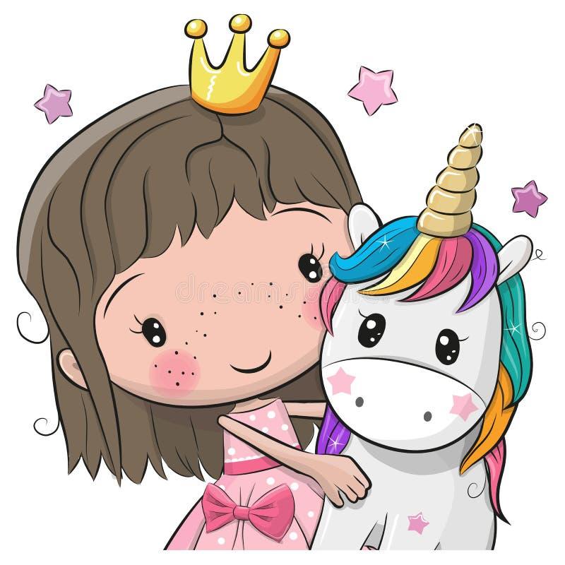 Cartolina d'auguri con principessa e l'unicorno di fiaba illustrazione di stock