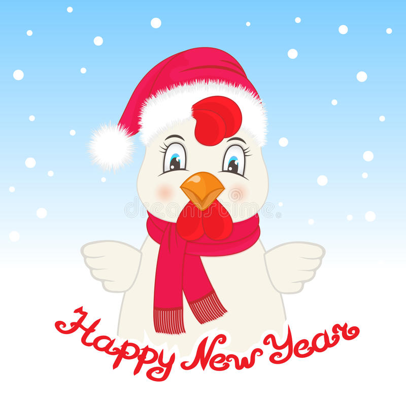 Cartolina d'auguri con un gallo in un cappello di Santa Claus ed in una sciarpa Buon anno dell'iscrizione della mano royalty illustrazione gratis