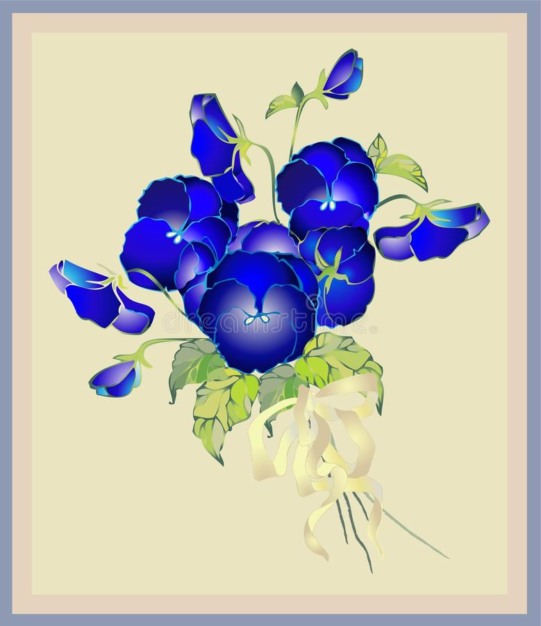 Cartolina d'auguri con un mazzo dei pansies. royalty illustrazione gratis