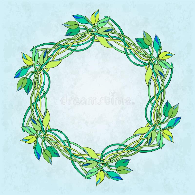 Cartolina d'auguri con una corona di tradescantia illustrazione di stock