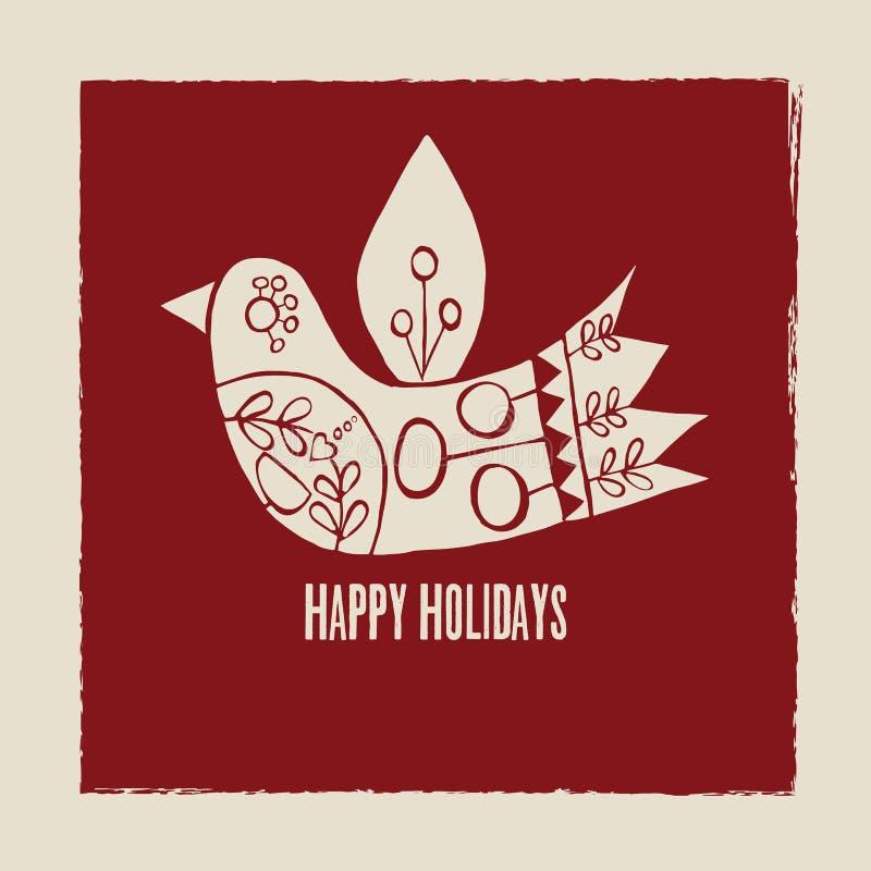 Cartolina d'auguri crema dell'uccello di vettore felice di feste su fondo rosso royalty illustrazione gratis