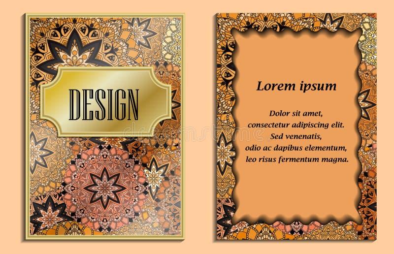 Cartolina d'auguri d'annata con i motivi floreali nello stile orientale Fondo leggero dell'oro nello stile persiano Modello per n royalty illustrazione gratis