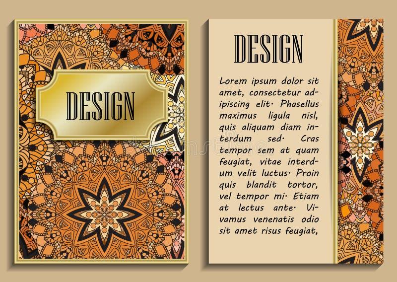 Cartolina d'auguri d'annata con i motivi floreali nello stile orientale Fondo leggero dell'oro nello stile persiano Modello per i royalty illustrazione gratis