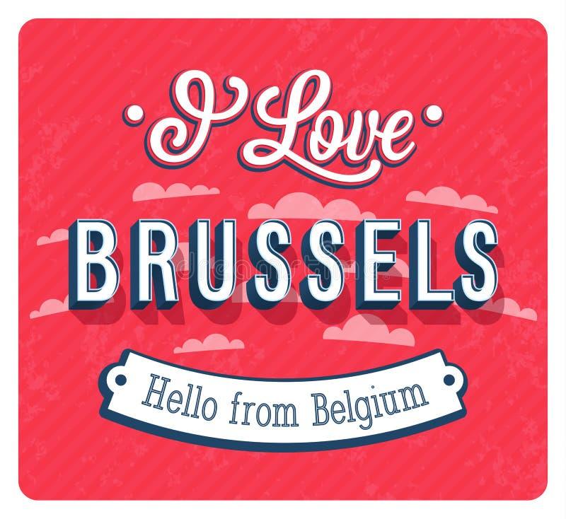Cartolina d'auguri d'annata da Bruxelles - il Belgio illustrazione vettoriale