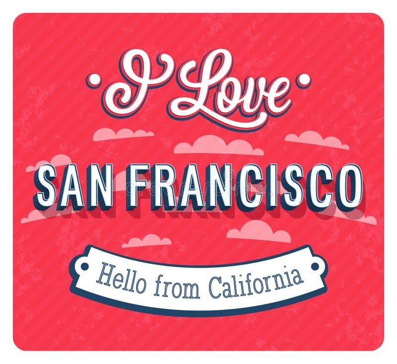 Cartolina d'auguri d'annata da San Francisco - California illustrazione di stock
